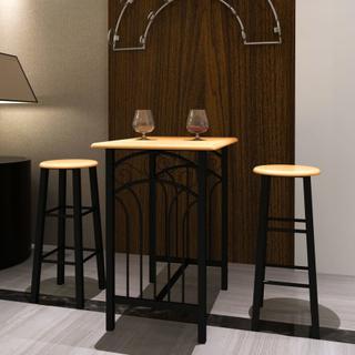 vidaXL morgenmads- og spisebordssæt gyldenbrun med sort stål