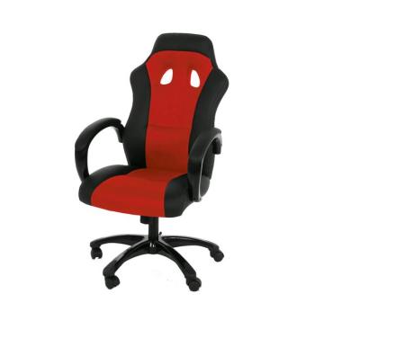 Ravn kontorstol, gamer stol med armlener og tilt funksjon i svart og rød.