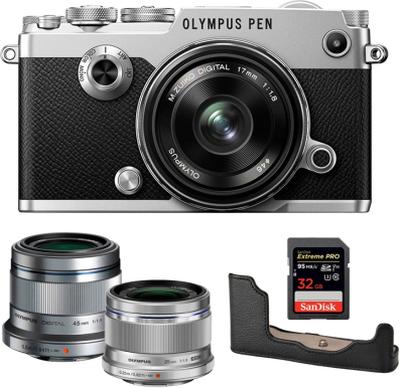 Olympus PEN-F + 17 + 25 + 45 + Half Case + 32GB SD