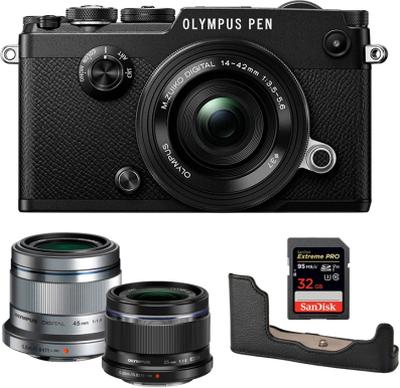 Olympus PEN-F + 14-42 + 25 + 45 + Half Case + 32GB