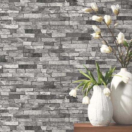 P & S teksturerede mursten effekt tapet trækul grå sort skygge tapet
