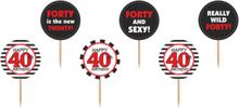 40 År - 6 stk Cupcake/Kakedekorasjoner 10 cm