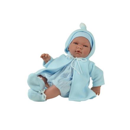 Asi dukke Pablo baby dreng med varm frakke, 43 cm