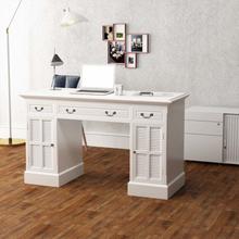 vidaXL Skrivbord med dubbla piedestaler 140x48x80 cm vit