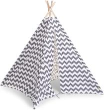 CHILDWOOD Lektält tipi kanvas 143x135x135 cm grå och vit TIPZIG