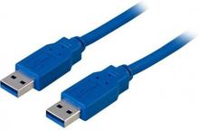 DELTACO USB 3.0 kabel, Typ A ha - Typ A ha, 2m, blå