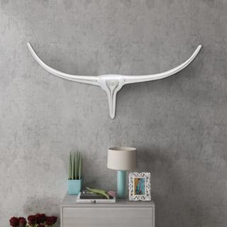 vidaXL Veggmontert aluminium Oksehode dekorasjon Sølv 72 cm