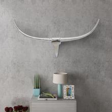 vidaXL Veggmontert Aluminium Oksehode Dekorasjon Sølv 100 cm