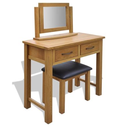vidaXL Sminkbord med pall ek
