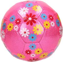 Lyserød glimmer fodbold med blomster - Ø20 cm