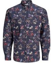 JACK & JONES Blommig Cutaway - Skjorta Man Blå