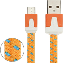 Micro USB Laddare med tygkabel 3m Orange