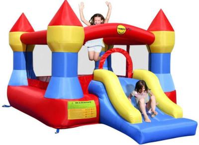Happy Hop Castle Bouncer med Slide - Gul / Blå / R