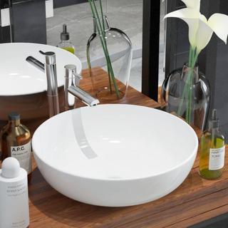 vidaXL håndvask rund keramik 41,5 x 13,5 cm hvid