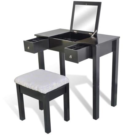 vidaXL Sminkbord med pall och 1 uppfällbar spegel svart