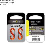 Nite Ize S-Biner Plast # 0 - Orange Genomskinlig