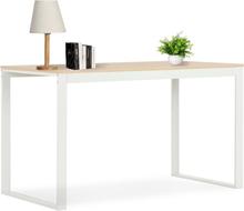 vidaXL Databord hvit og eik 120x60x73 cm
