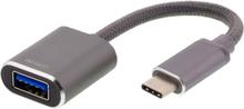 USB-C 3.1 - USB-A OTG sovitin, tähtiharmaa