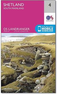 ORDNANCE SURVEY Landranger 4 Shetland södra fastlandet karta med Di...