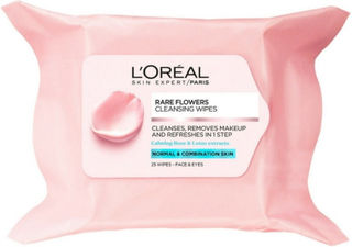 LOreal Paris Skin Cleansing Rare Flower Cleansing Wipes Normal Comb Skin 25 wipes