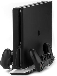 [REYTID] PlayStation 4 Slim QUAD stå lodrät Dual kylning Pad dubbel...