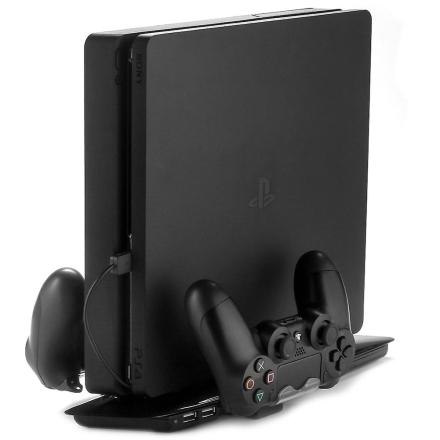 [REYTID] PS4 Slim 4 i 1 stativ, vertikal dobbel avkjøling pute, Dua...