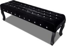 vidaXL Bänk i sammet med kristallknappar svart