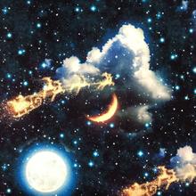 Mönstrad Trikå 150 cm - Tomte med Renar på Stjärnhimmel