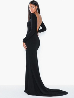 Missguided Long Sleeve Open Back Fishtail Maxi Maxiklänningar