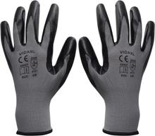 vidaXL Arbetshandskar nitril 24 par grå och svart strl. 10/XL