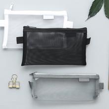 1 Pcs Simple Transparent Mesh Pencil Case Storage Organizer Pen Bags Pouch Pencil Bag Pencilcase School Supply Kawaii Stationery