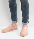 ASOS Slip On Plimsolls In Patent Pink With Chunky