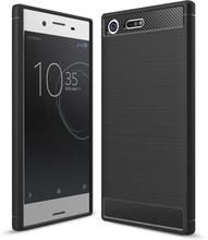 Sony Xperia Xz Premium Karbonfiber Børstet TPU Etui - Svart