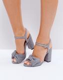 ASOS HAZELLE Bow Block Heels - Grey
