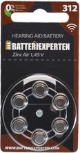 Høreapparatbatteri 312/A312/PR41 6stk/pk.