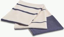 Stripes kökshandduk 3st Whisper white/dark blue