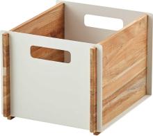Box låda Vit/teak