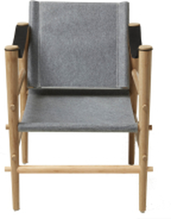 Noble loungestol Bambu/grå filt