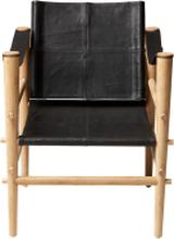 Noble loungestol Bambu/svart läder