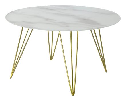 Sevilla soffbord Ljus marmor/blank mässing 80 cm