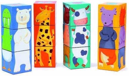Djeco byggblock - djurkuber (12 st)