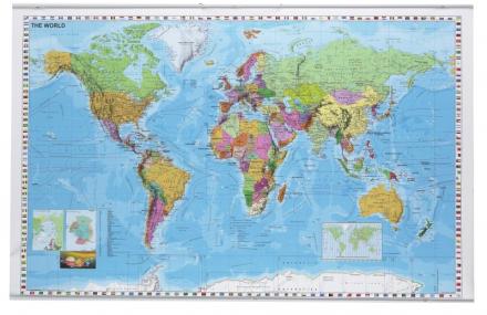 Plakat verdenskort lamineret 1370x890mm - på engelsk