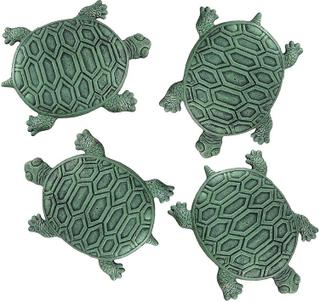 Zeckos Sett med 4 Cast Iron Turtle hage Stepping stein trinn fliser...