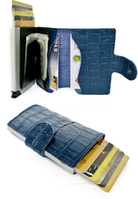 Plånbok med korthållare Safecard Kroko Blå