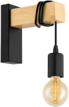 EGLO Vägglampa LED Townshend 1 lampa trä svart och beige