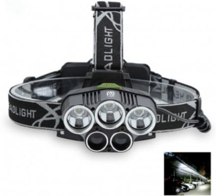 3T6 2XPE 5-LED-strålkastare ficklampa 5000 Lumen Pannlampa