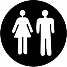 Klistermärke Dekal Toa Toalett Brådskande Man och Kvinna