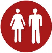 Klistermärke Dekal Toa Toalett Brådskande Man och Kvinna Röd