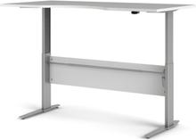 Prima hæve sænkebord - hvid/sølvgråt stål (150x80)
