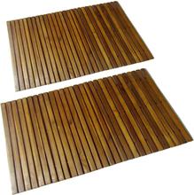 vidaXL 2 Akacia badrumsmattor 80 x 50 cm